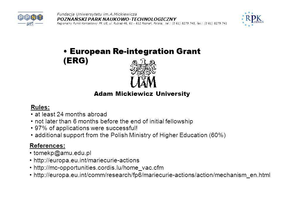 European Re-integration Grant (ERG)