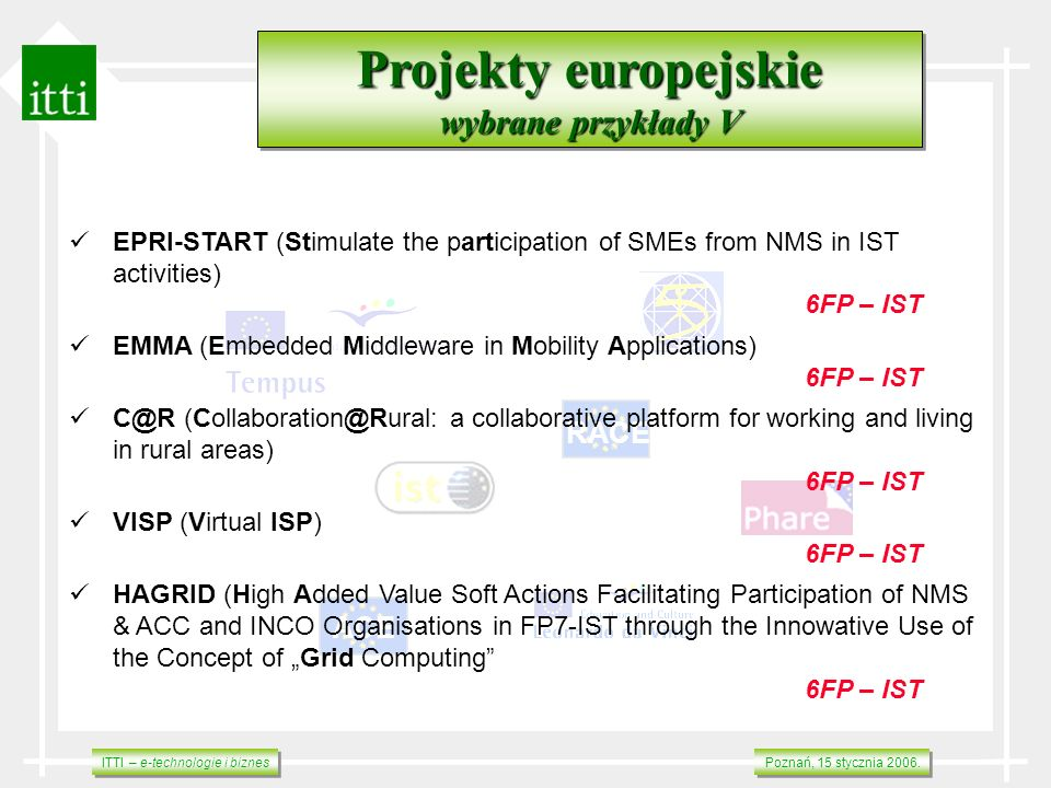 Projekty europejskie wybrane przykłady V RACE ACE