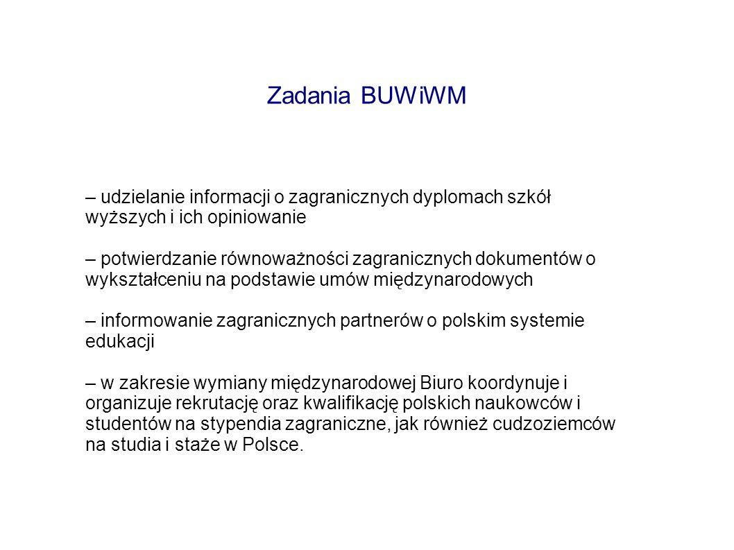 Zadania BUWiWM– udzielanie informacji o zagranicznych dyplomach szkół wyższych i ich opiniowanie.