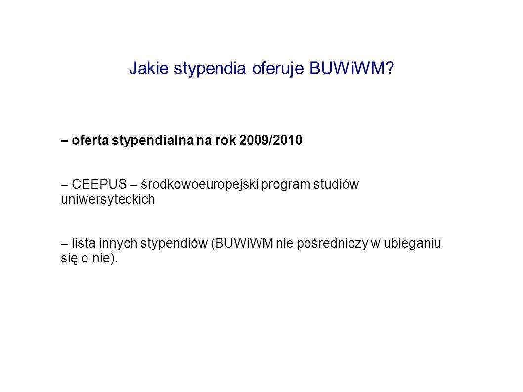 Jakie stypendia oferuje BUWiWM
