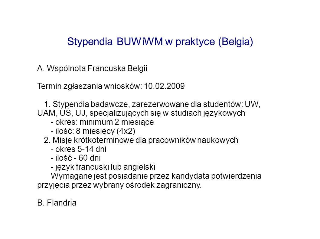 Stypendia BUWiWM w praktyce (Belgia)