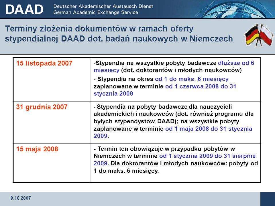 Terminy złożenia dokumentów w ramach oferty stypendialnej DAAD dot
