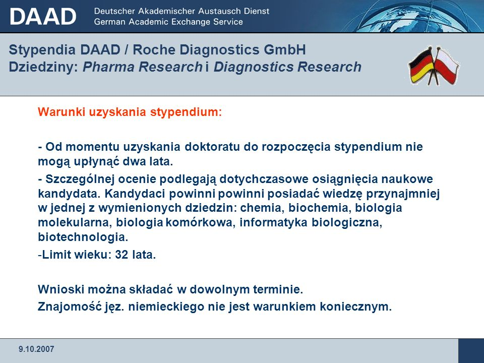 Stypendia DAAD / Roche Diagnostics GmbH Dziedziny: Pharma Research i Diagnostics Research