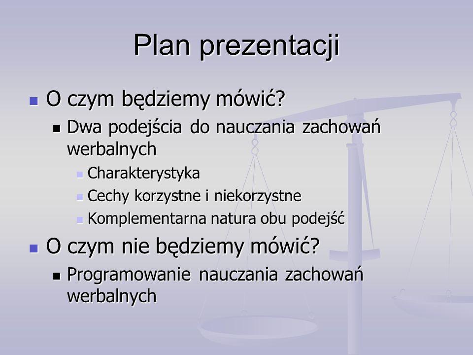 Plan prezentacji O czym będziemy mówić O czym nie będziemy mówić