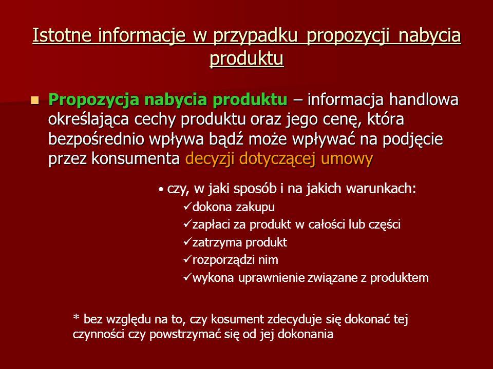 Istotne informacje w przypadku propozycji nabycia produktu