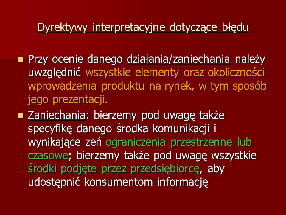 Dyrektywy interpretacyjne dotyczące błędu