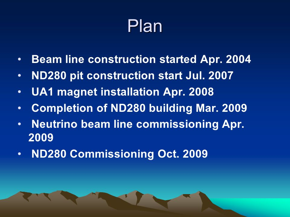 Plan Beam line construction started Apr. 2004