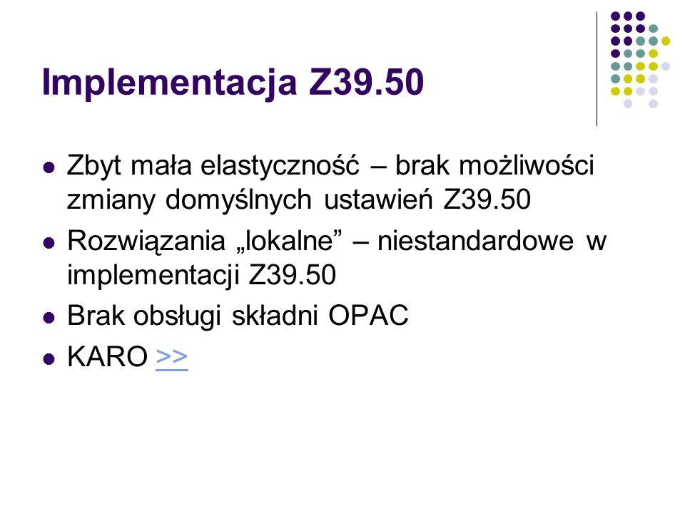 Implementacja Z39.50 Zbyt mała elastyczność – brak możliwości zmiany domyślnych ustawień Z39.50.