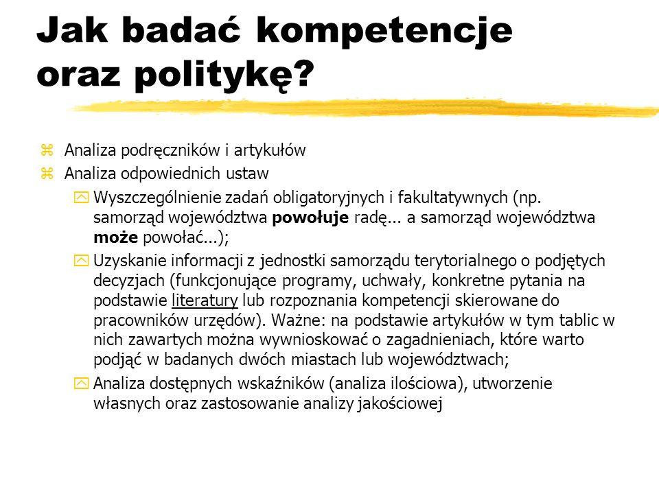 Jak badać kompetencje oraz politykę