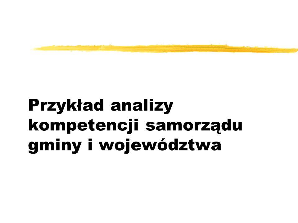 Przykład analizy kompetencji samorządu gminy i województwa