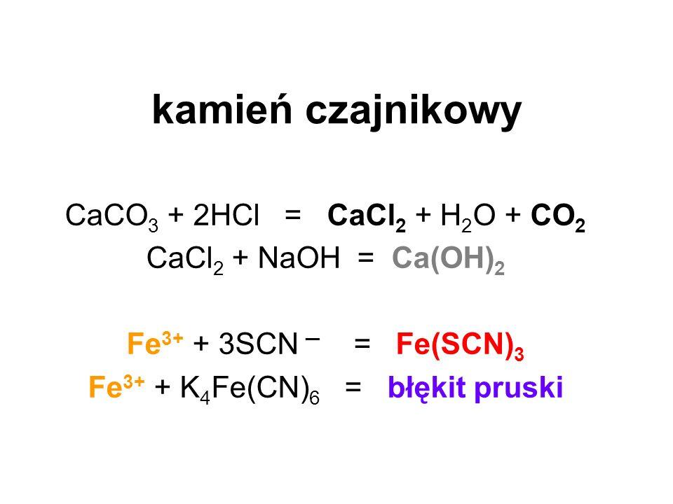 Fe3+ + K4Fe(CN)6 = błękit pruski