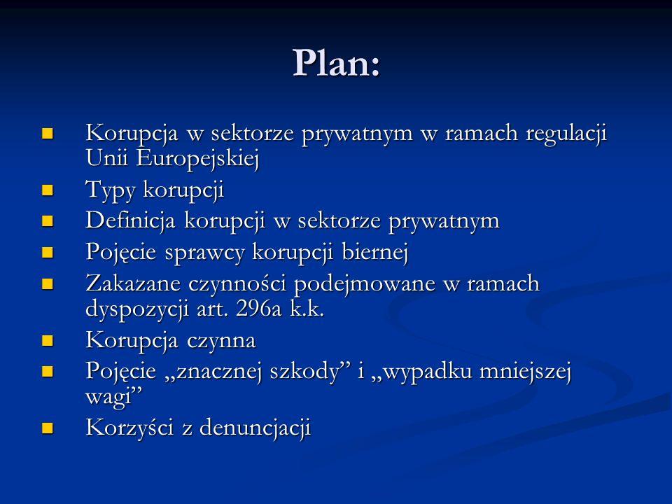Plan: Korupcja w sektorze prywatnym w ramach regulacji Unii Europejskiej. Typy korupcji. Definicja korupcji w sektorze prywatnym.