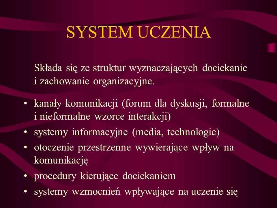 SYSTEM UCZENIA Składa się ze struktur wyznaczających dociekanie i zachowanie organizacyjne.