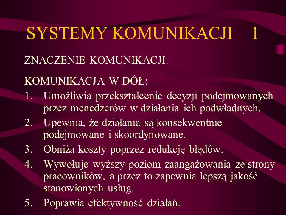 SYSTEMY KOMUNIKACJI 1 ZNACZENIE KOMUNIKACJI: KOMUNIKACJA W DÓŁ: