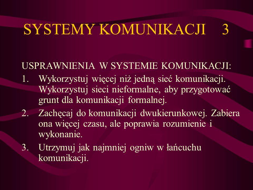 SYSTEMY KOMUNIKACJI 3 USPRAWNIENIA W SYSTEMIE KOMUNIKACJI: