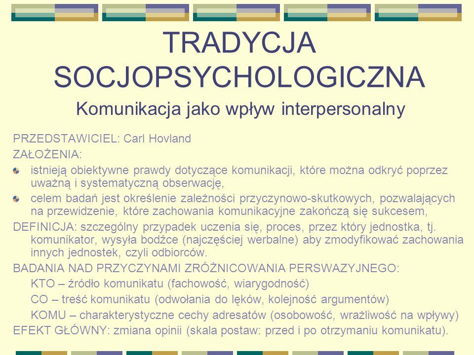 TRADYCJA SOCJOPSYCHOLOGICZNA