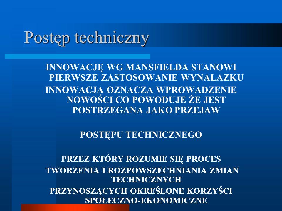 Postęp techniczny INNOWACJĘ WG MANSFIELDA STANOWI PIERWSZE ZASTOSOWANIE WYNALAZKU.