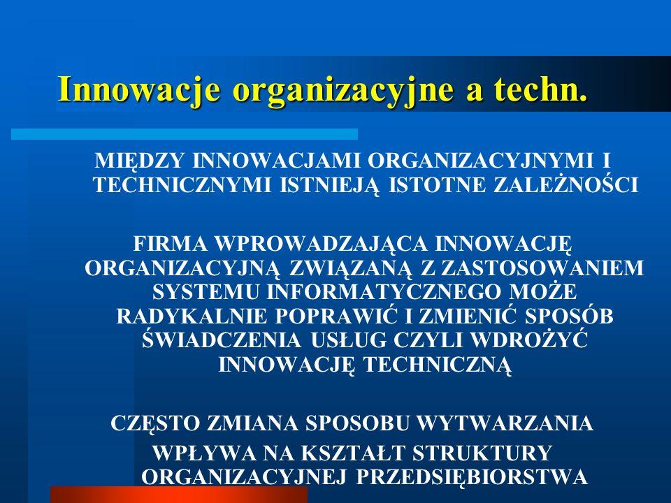 Innowacje organizacyjne a techn.