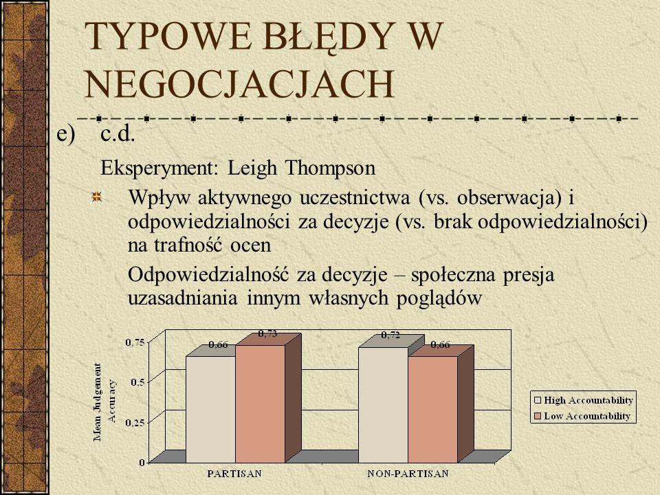 TYPOWE BŁĘDY W NEGOCJACJACH