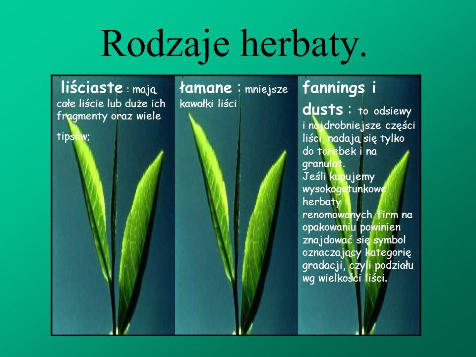 Rodzaje herbaty. liściaste : mają całe liście lub duże ich fragmenty oraz wiele tipsów; łamane : mniejsze kawałki liści.