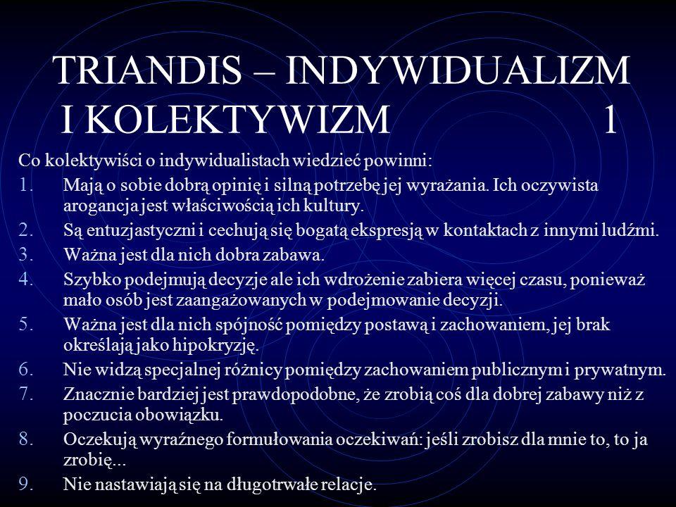 TRIANDIS – INDYWIDUALIZM I KOLEKTYWIZM 1
