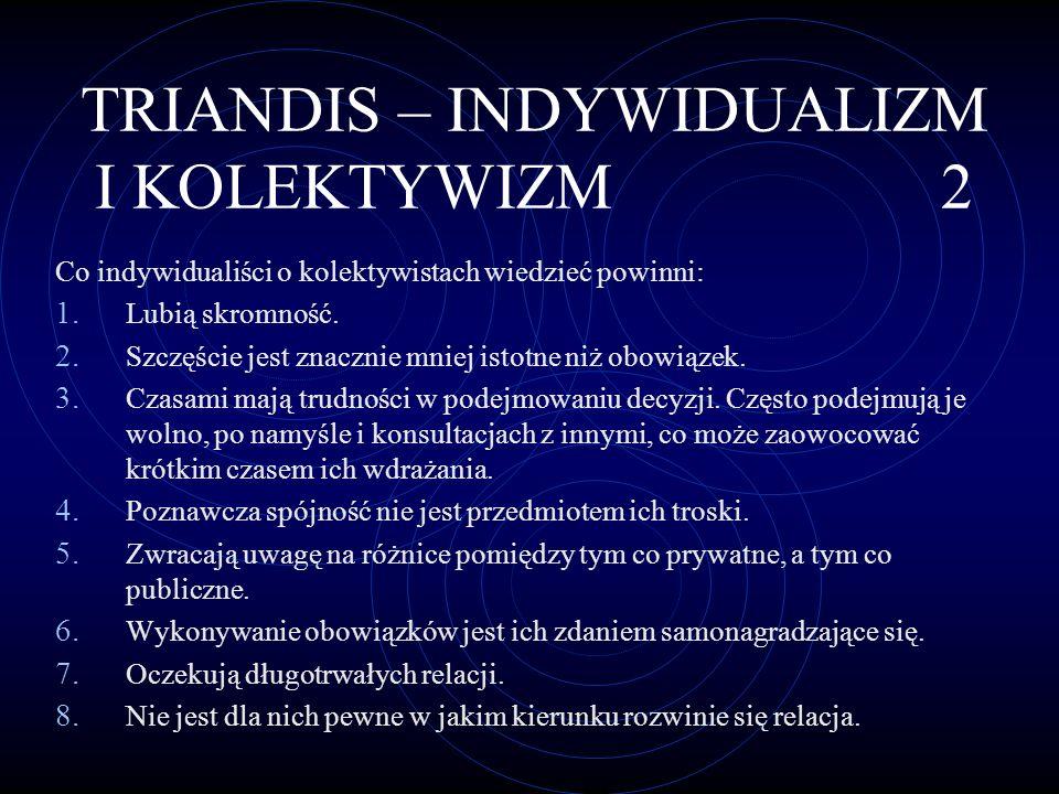 TRIANDIS – INDYWIDUALIZM I KOLEKTYWIZM 2