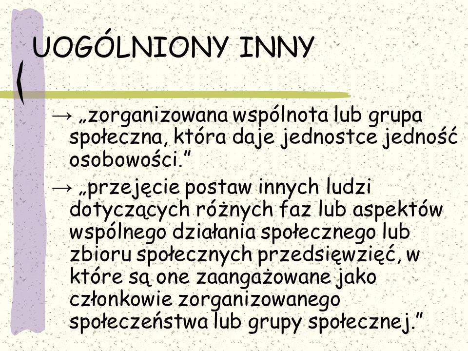 """UOGÓLNIONY INNY → """"zorganizowana wspólnota lub grupa społeczna, która daje jednostce jedność osobowości."""