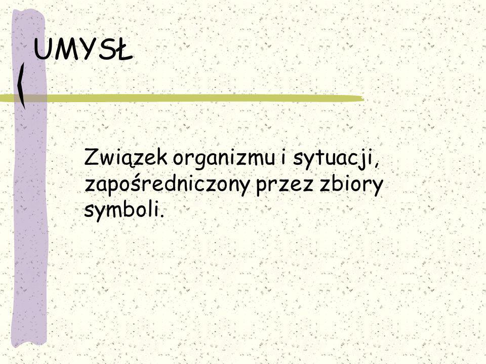 UMYSŁ Związek organizmu i sytuacji, zapośredniczony przez zbiory symboli.