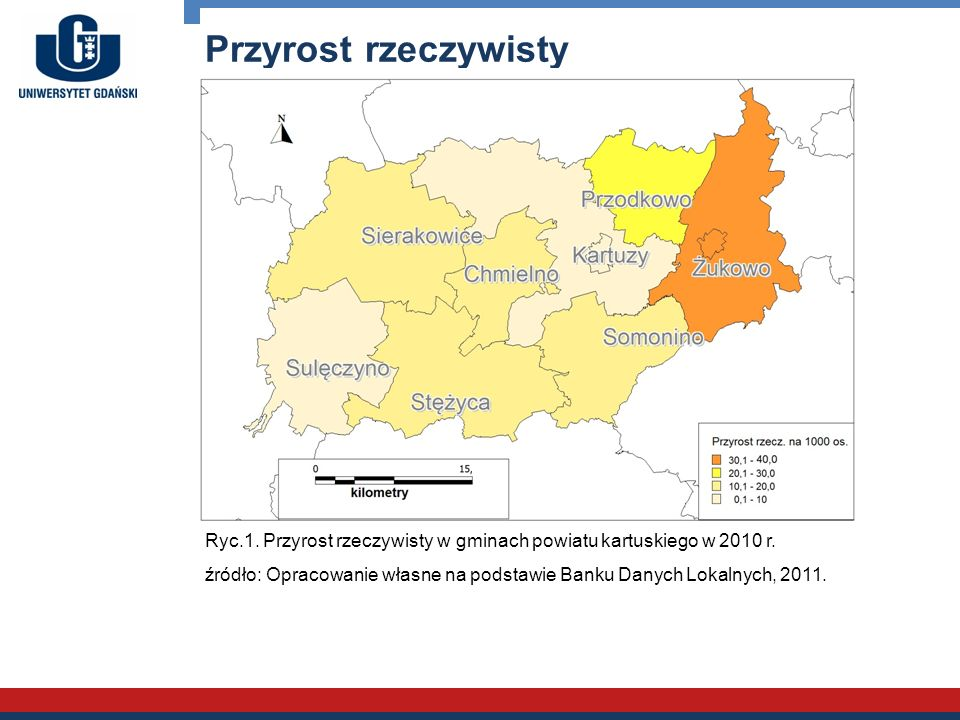 Przyrost rzeczywisty Ryc.1. Przyrost rzeczywisty w gminach powiatu kartuskiego w 2010 r.