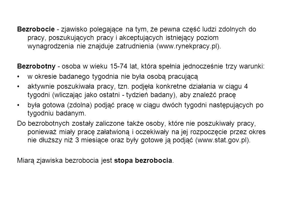 Bezrobocie - zjawisko polegające na tym, że pewna część ludzi zdolnych do pracy, poszukujących pracy i akceptujących istniejący poziom wynagrodzenia nie znajduje zatrudnienia (www.rynekpracy.pl).