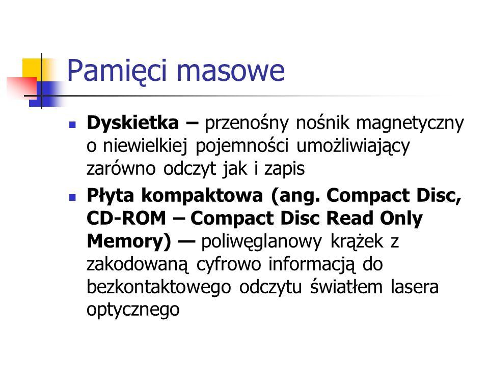 Pamięci masowe Dyskietka – przenośny nośnik magnetyczny o niewielkiej pojemności umożliwiający zarówno odczyt jak i zapis.