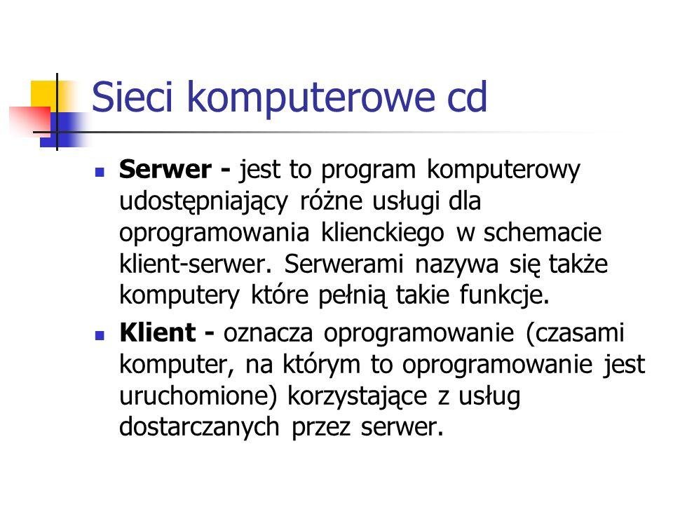 Sieci komputerowe cd