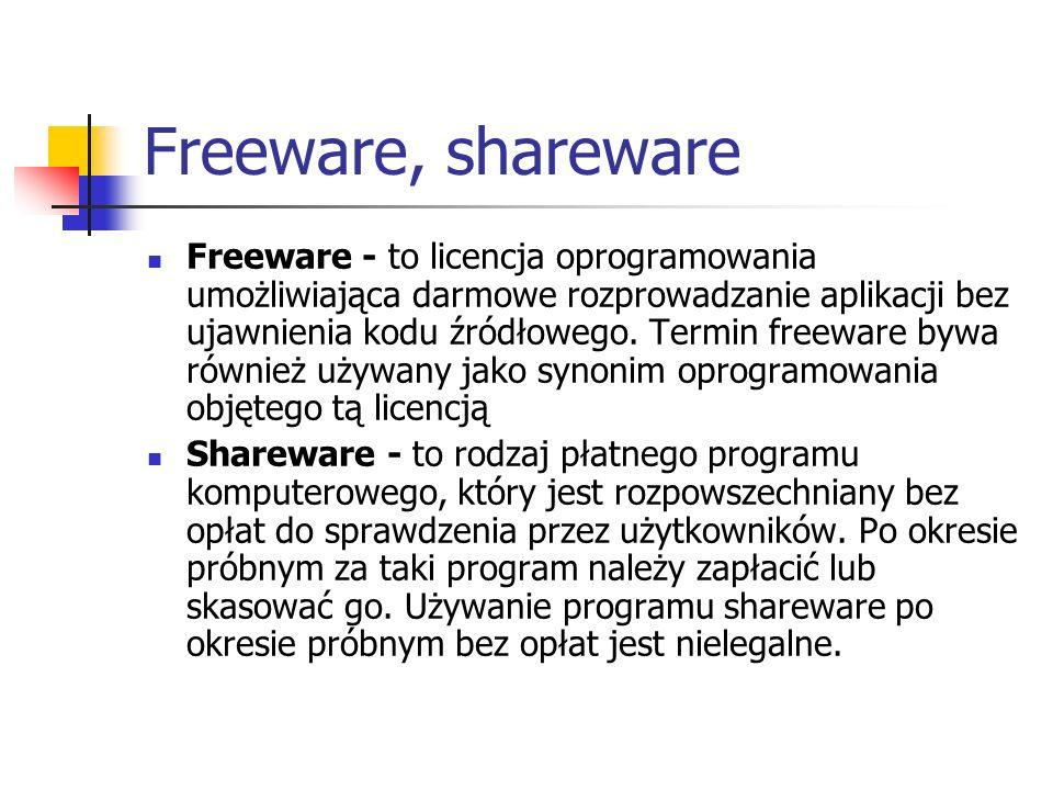 Freeware, shareware