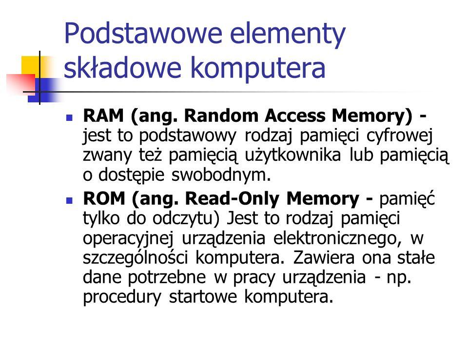 Podstawowe elementy składowe komputera