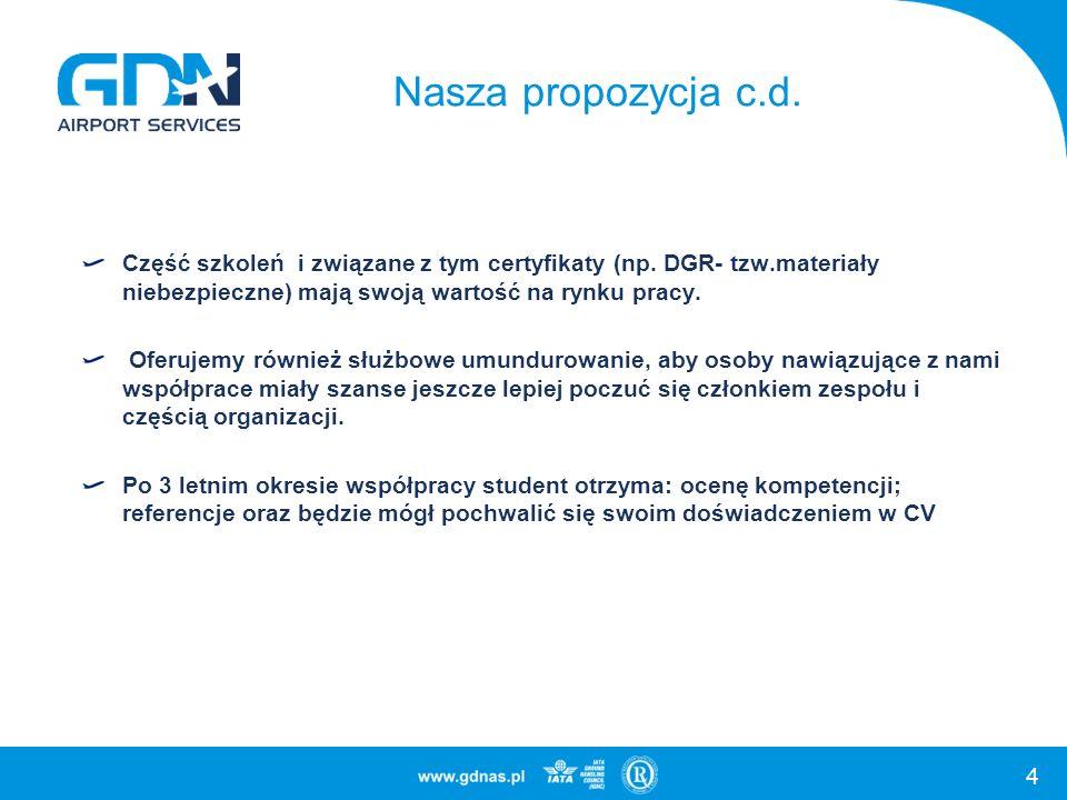 Nasza propozycja c.d. Część szkoleń i związane z tym certyfikaty (np. DGR- tzw.materiały niebezpieczne) mają swoją wartość na rynku pracy.