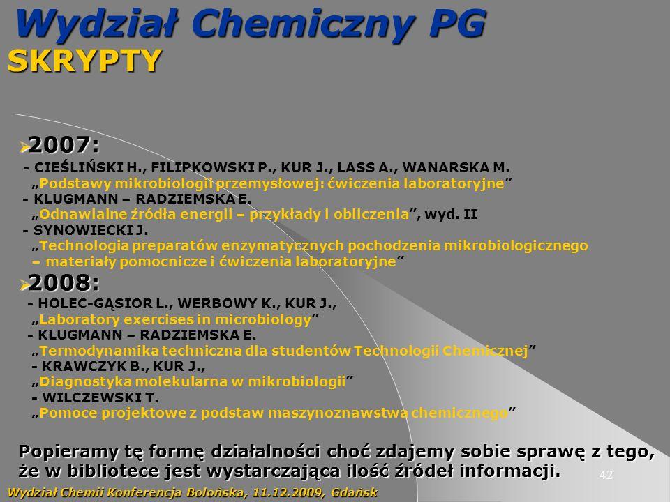 Wydział Chemiczny PG SKRYPTY 2007: 2008: