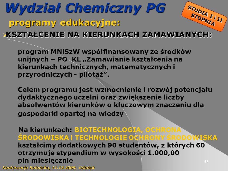 Wydział Chemiczny PG programy edukacyjne: