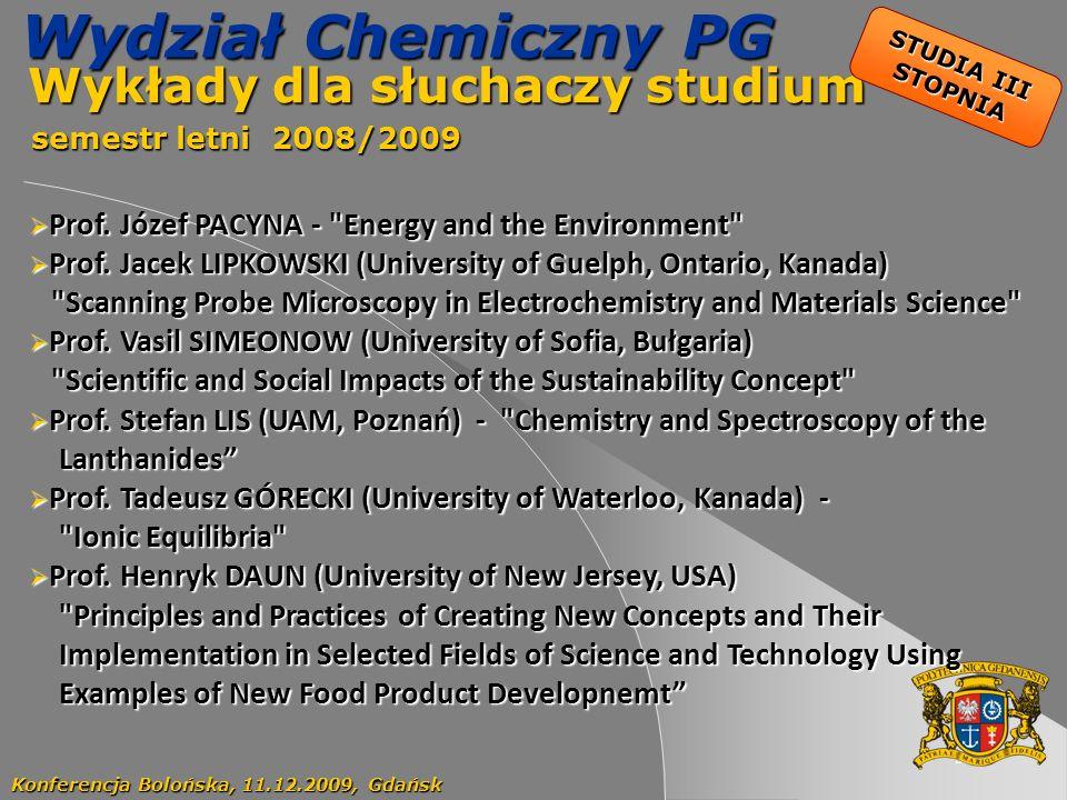 Wykłady dla słuchaczy studium semestr letni 2008/2009