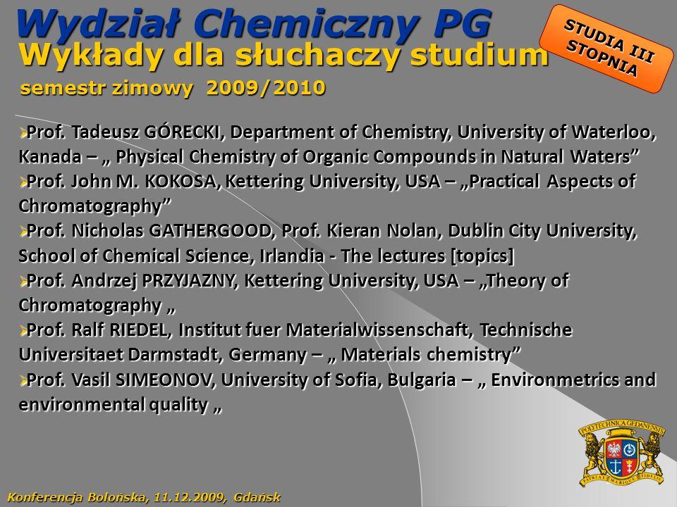 Wykłady dla słuchaczy studium semestr zimowy 2009/2010