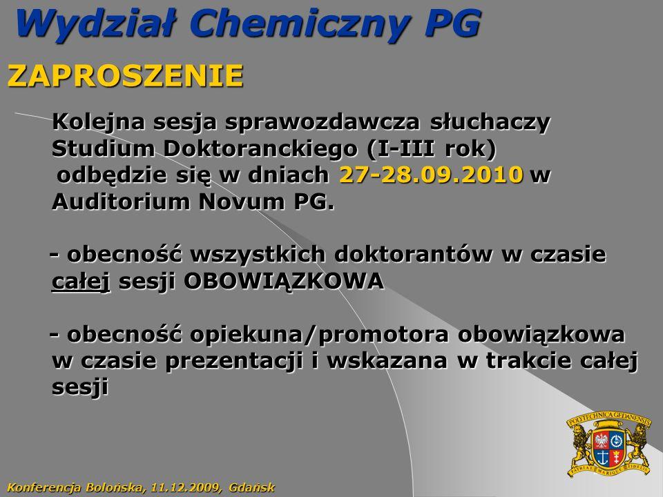 Wydział Chemiczny PG ZAPROSZENIE