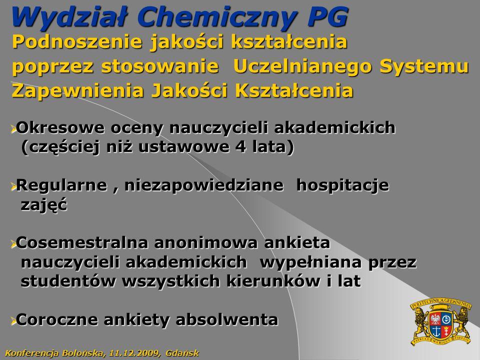Wydział Chemiczny PG Podnoszenie jakości kształcenia