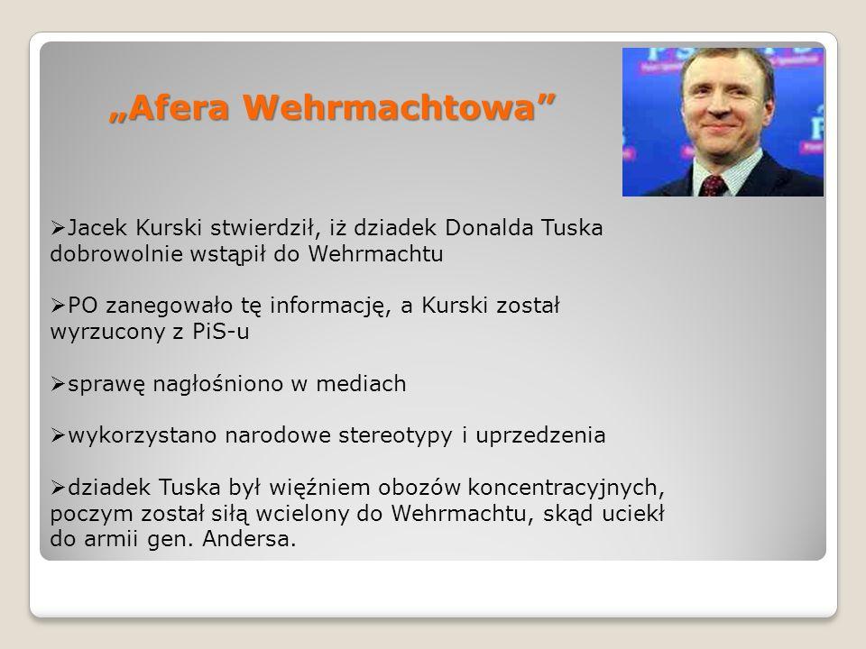 """""""Afera Wehrmachtowa Jacek Kurski stwierdził, iż dziadek Donalda Tuska dobrowolnie wstąpił do Wehrmachtu."""