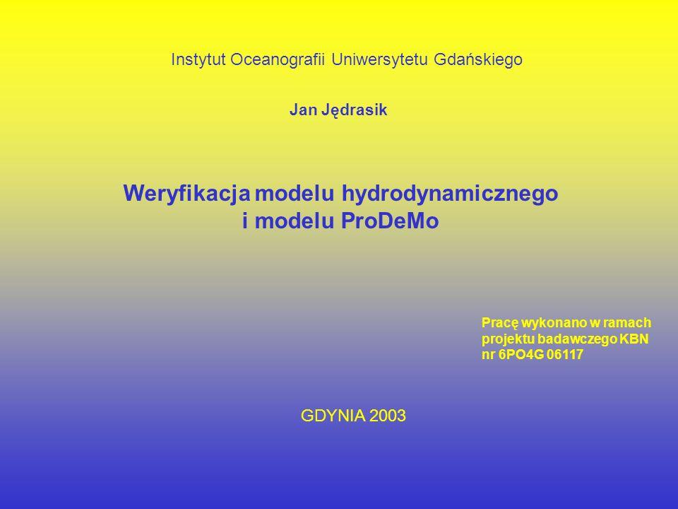 Weryfikacja modelu hydrodynamicznego i modelu ProDeMo