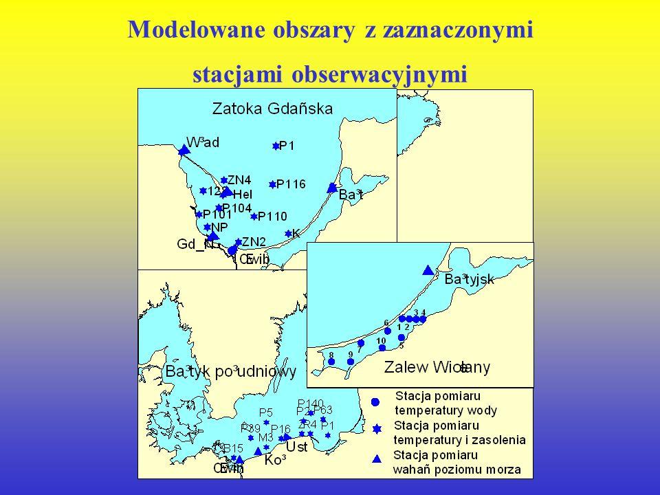 Modelowane obszary z zaznaczonymi stacjami obserwacyjnymi