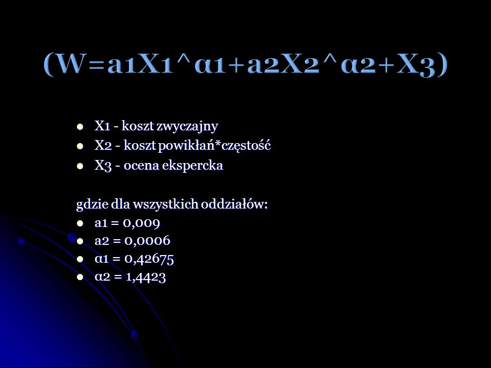 (W=a1X1^α1+a2X2^α2+X3) X1 - koszt zwyczajny