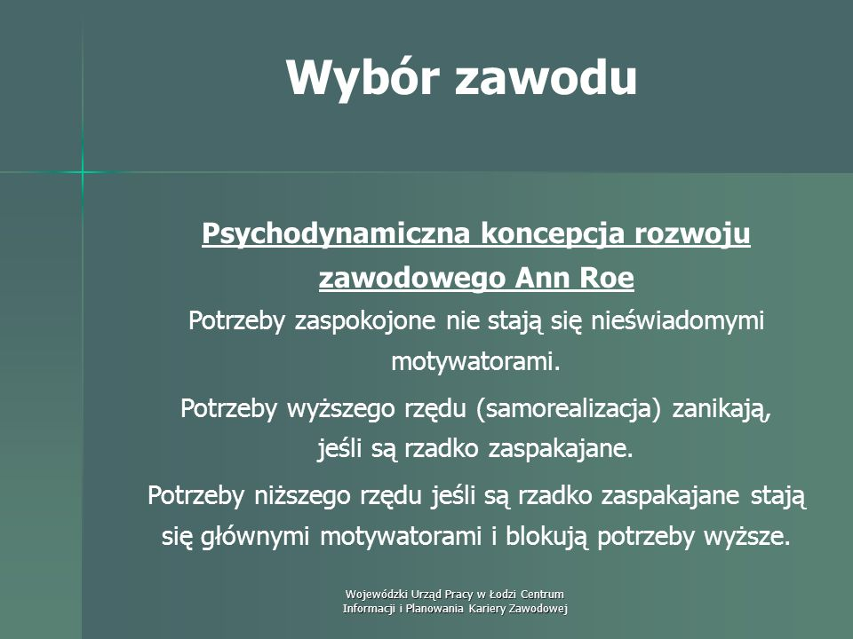 Psychodynamiczna koncepcja rozwoju zawodowego Ann Roe