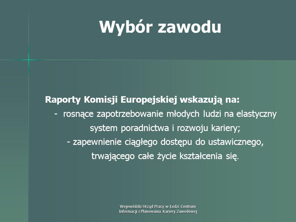 Wybór zawodu Raporty Komisji Europejskiej wskazują na: