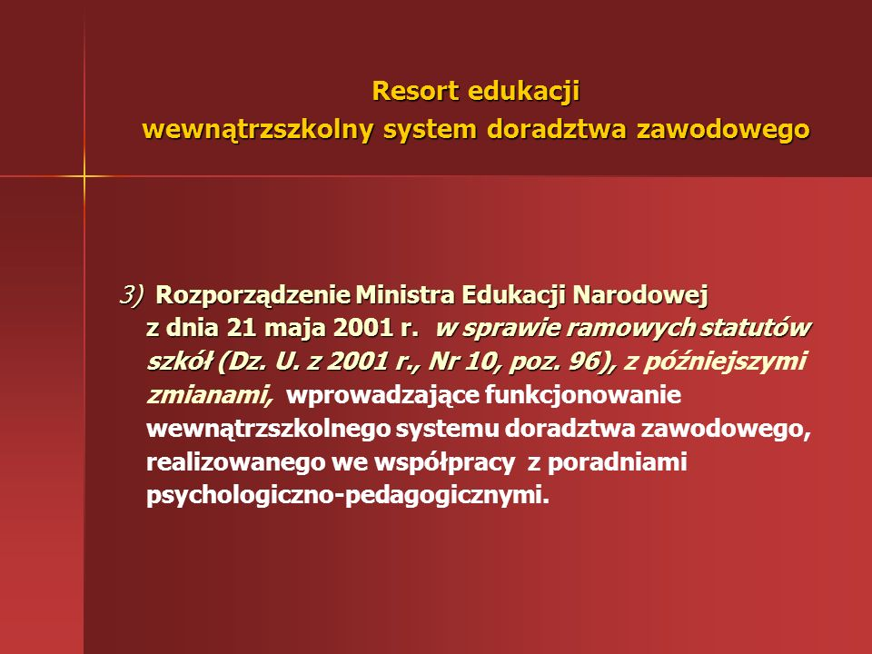 Resort edukacji wewnątrzszkolny system doradztwa zawodowego