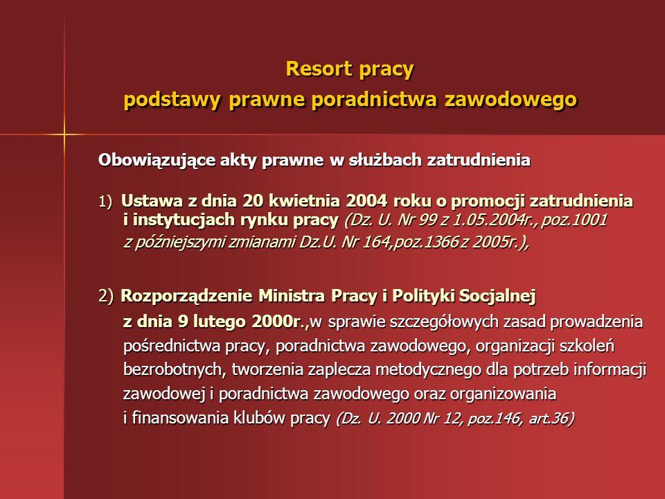Resort pracy podstawy prawne poradnictwa zawodowego