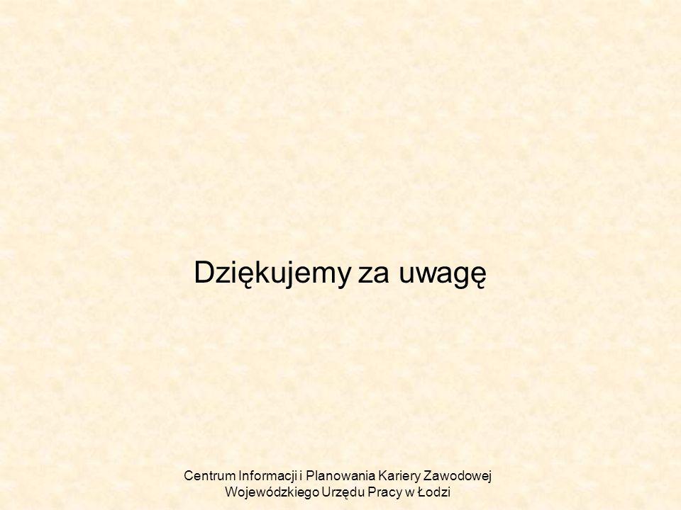 Dziękujemy za uwagę Centrum Informacji i Planowania Kariery Zawodowej Wojewódzkiego Urzędu Pracy w Łodzi.